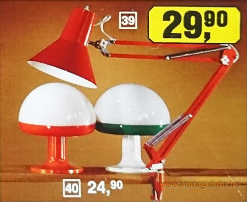 1970s Mushroom Table Lamp - iGuzzini - Harvey Guzzini - Otto Germany 1976 Catalogue