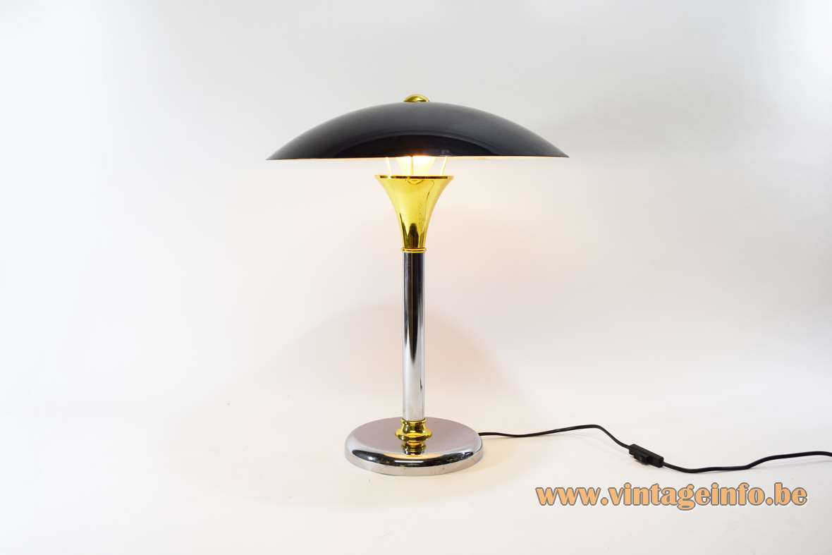 1980s Bauhaus Swann table lamp chrome brass black lampshade Max Schumacher Massive Belgium 1990s