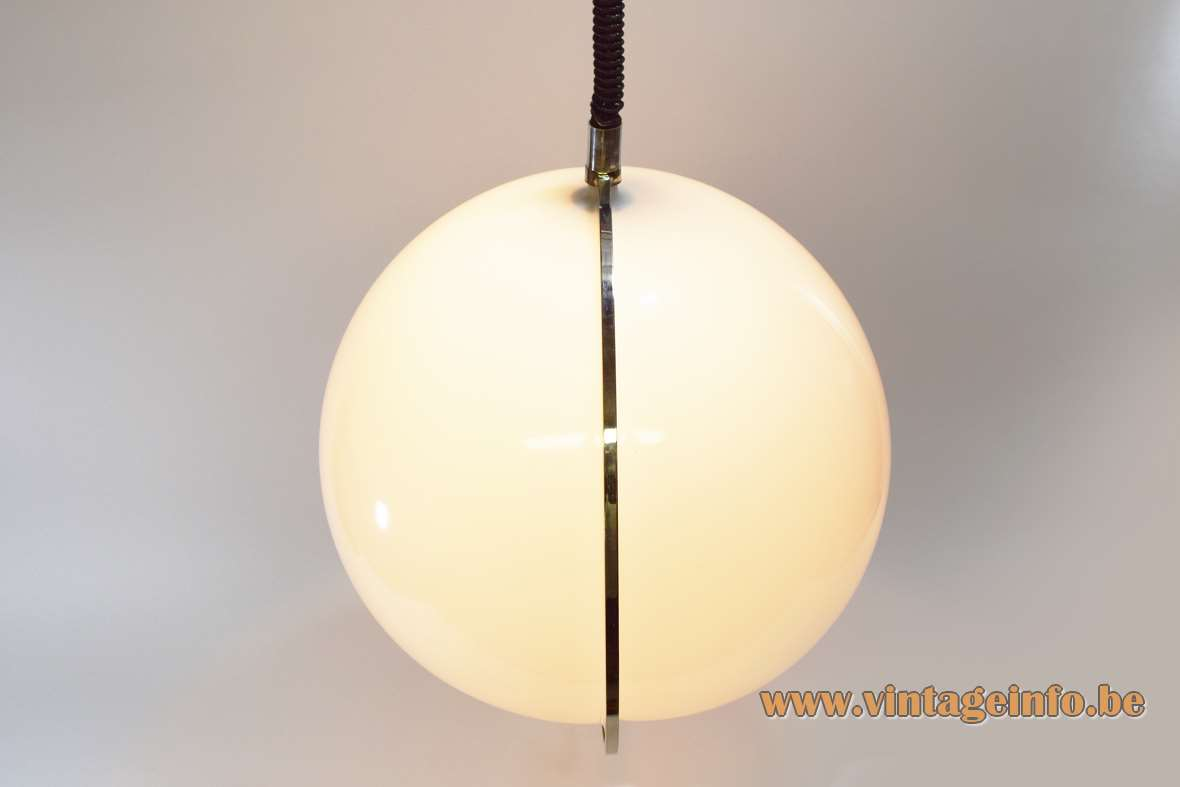 Globe pendant lamp 2 acrylic Perspex shells rise & fall wood ring Guzzini Rolly 1960s 1970s Massive MCM Mid-Century Modern