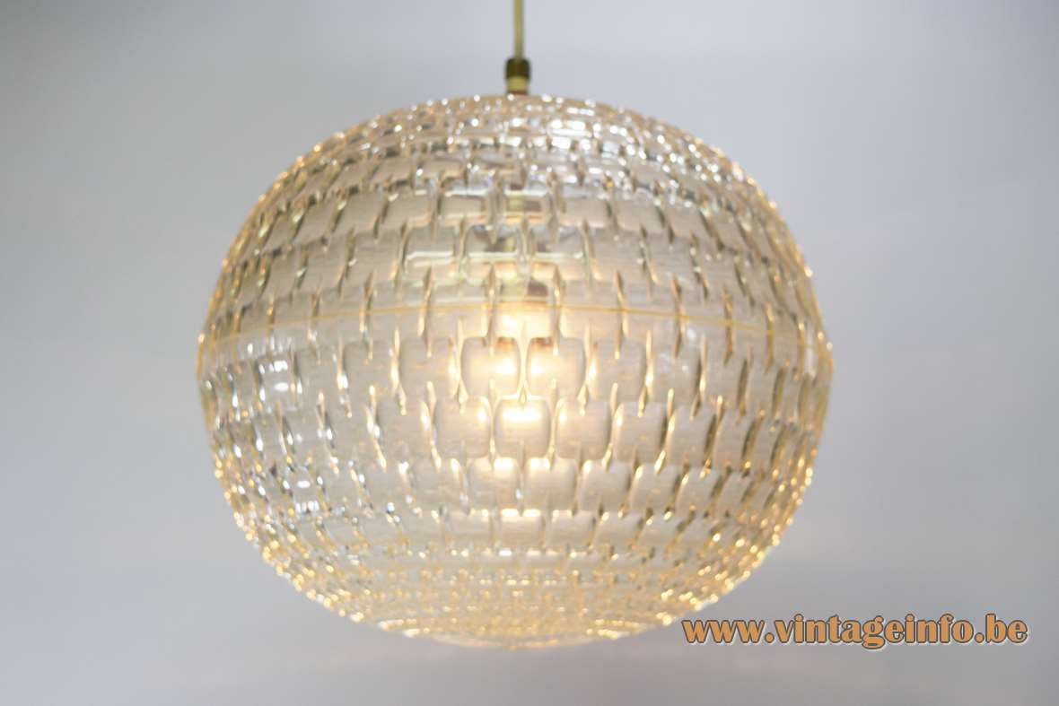 Aloys Ferdinand Gangkofner ERCO globe pendant lamp clear plastic ball 1960s 1970s MCM Germany Diamond