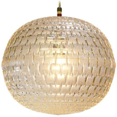 Aloys Ferdinand Gangkofner ERCO pendant lamp plastic globe lampshade repeating diamond motif design 1960s 1970s Germany