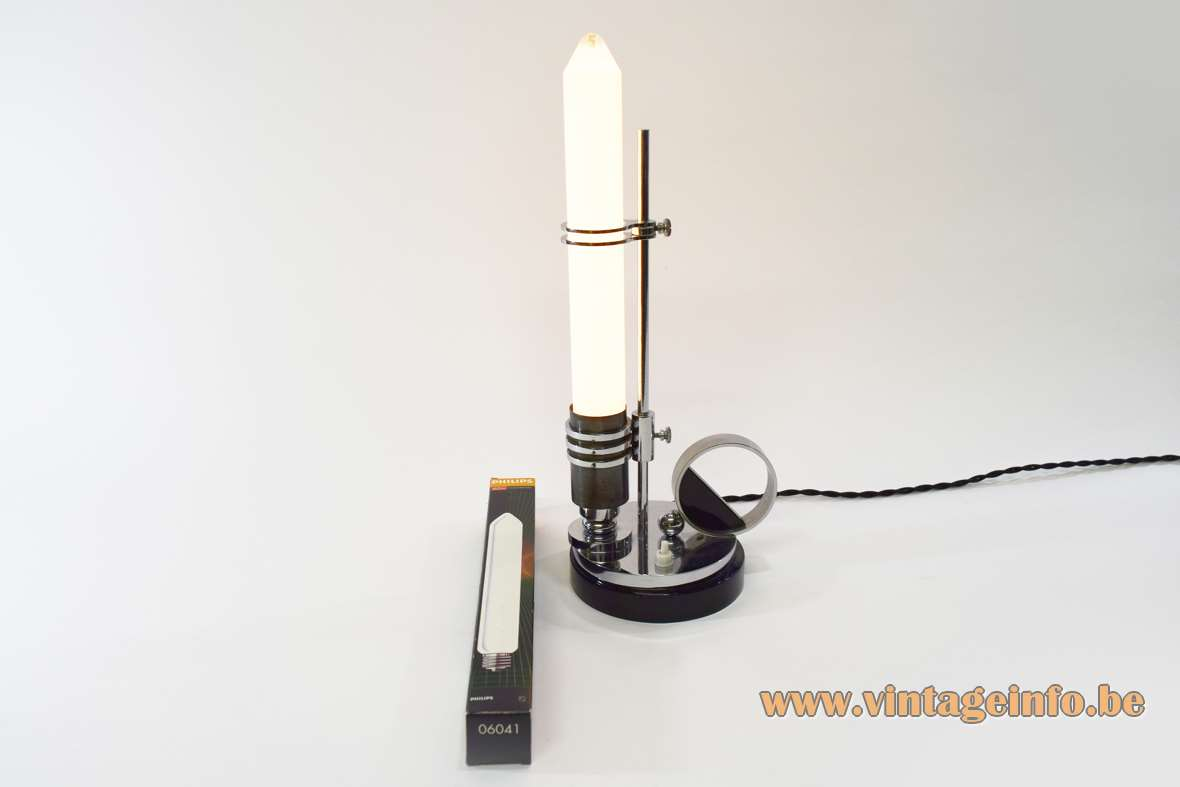 Art deco table lamp candlestick black round wooden base chrome E27 socket Colorenta light bulb Bauhaus 1920s 1930s