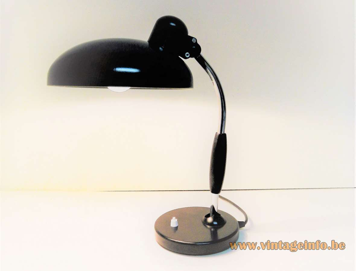 Bruder Koranda & Co desk lamp 1933 design: Christian Dell black metal base & lampshade chrome rod Bauhaus