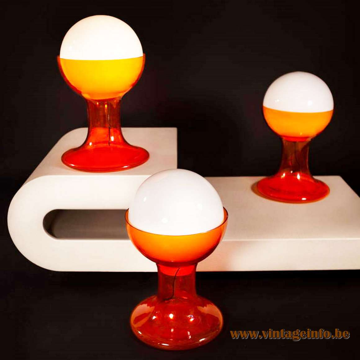 Carlo Nason AV Mazzega LT216 Table Lamp 1968 design big orange glass opal globe 1960s 1970s