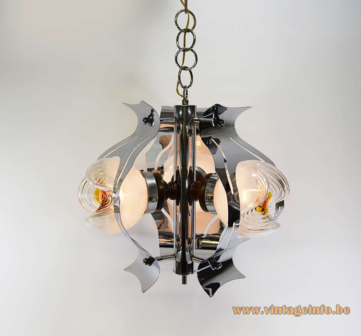 Chrome and 3 clear milky orange glass globes chandelier Toni Zuccheri AV Mazzega 1960s 1970s MCM Massive