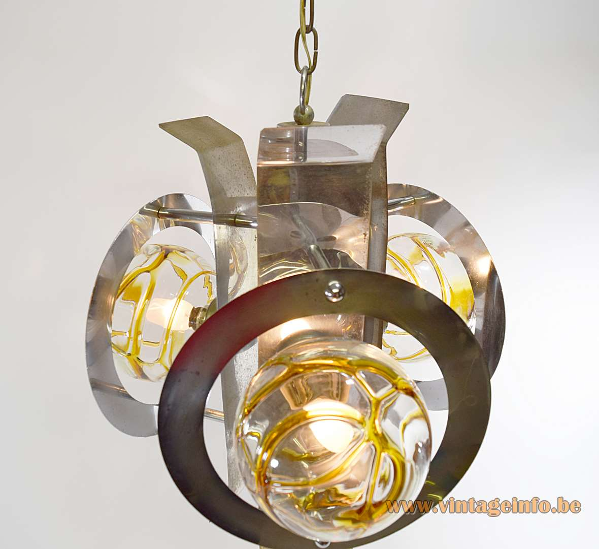 Chrome and amber veined glass chandelier with 3 DORIA globes and metal slats chain 1960s 1970s
