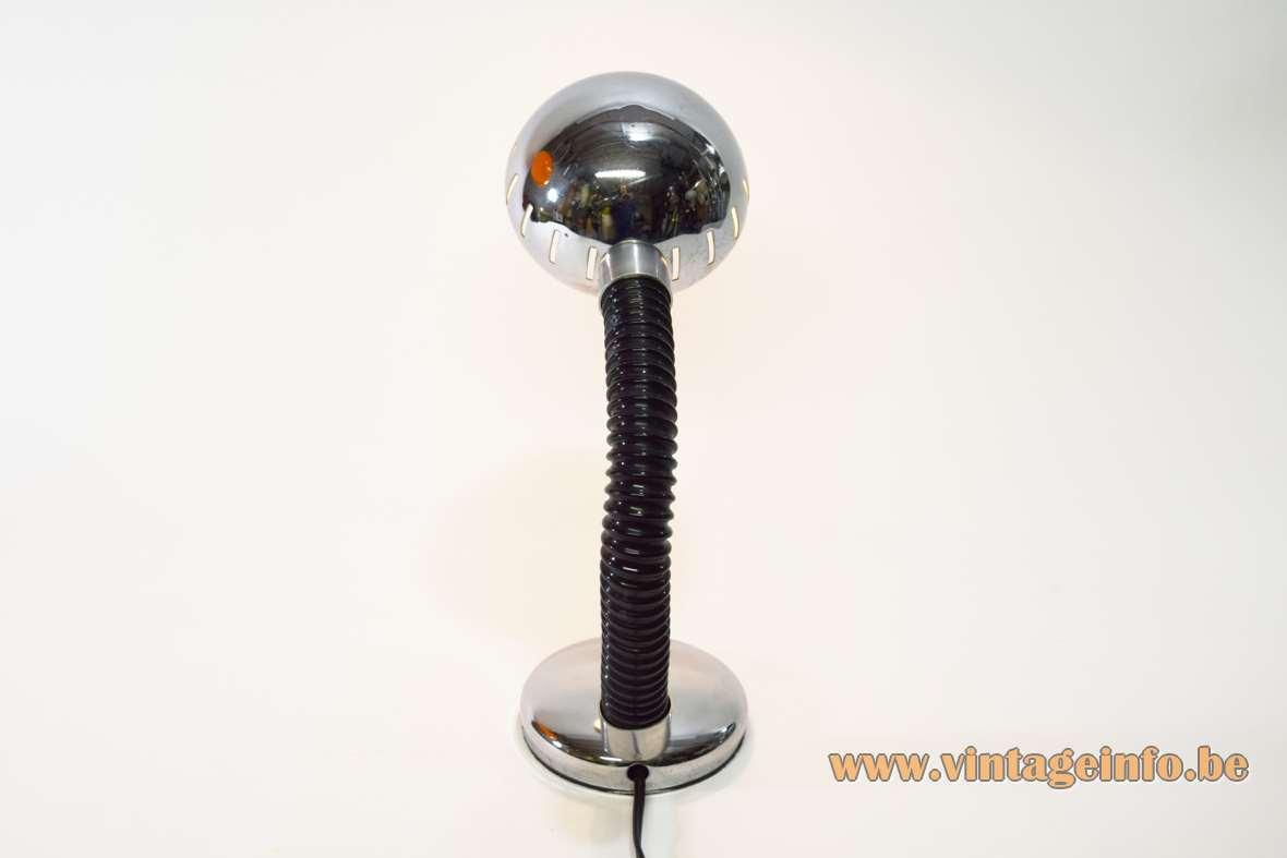 Chrome Gooseneck desk lamp round base black rubber hose globe lampshade Massive Belgium MCM 1970s