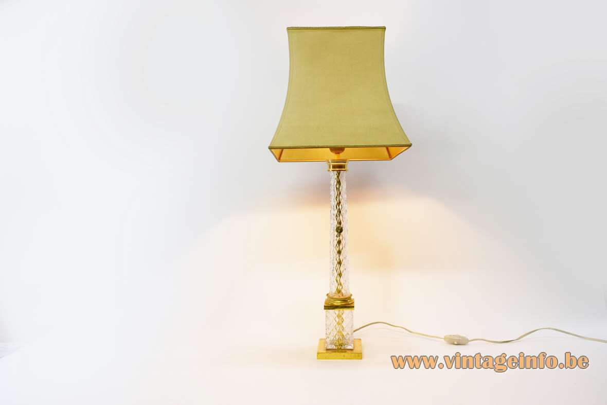 Cristal d'Albret table lamp gilded square brass base crystal glass Cristalleries et Verreries de Viann 1960s 1970s
