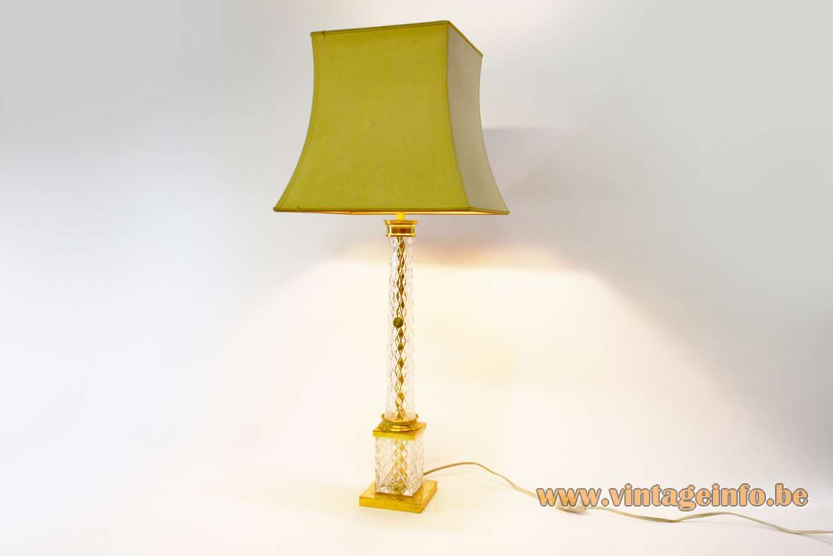 Cristal d'Albret table lamp gilded square brass base crystal glass beam & tube pagoda lampshade 1960s 1970s