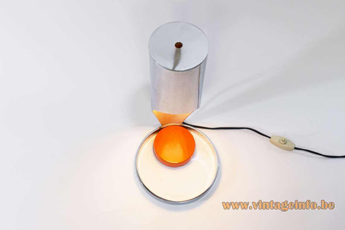 Esperia chrome tube table lamp design: Angelo Brotto orange wood disc chrome cylinder lampshade 1960s Italy