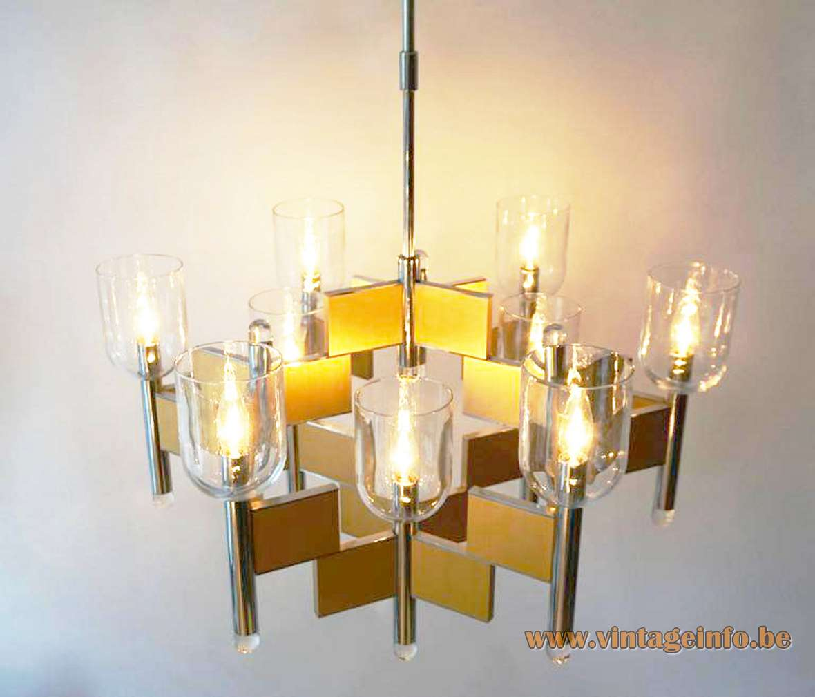 Gaetano Sciolari Domino chandelier 1970s design brass slats chrome tubes 9 clear glass chalices lampshades 1980s