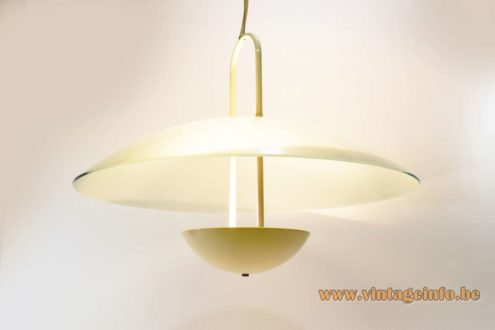 Glass uplighter pendant lamp round mushroom lampshade of frosted glass halogen bulb R7S 1970s 1980s