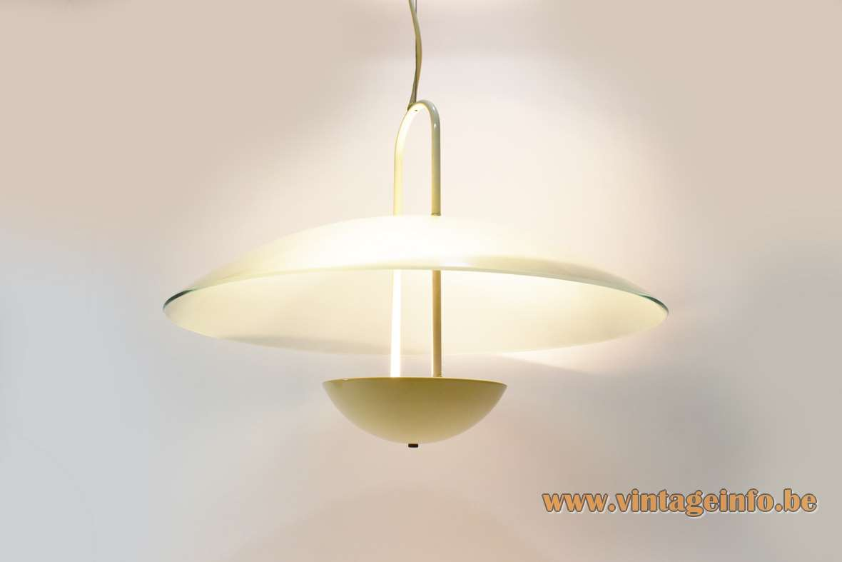 Glass uplighter pendant lamp round frosted glass mushroom lampshade halogen bulb R7S 1970s 1980s vintage