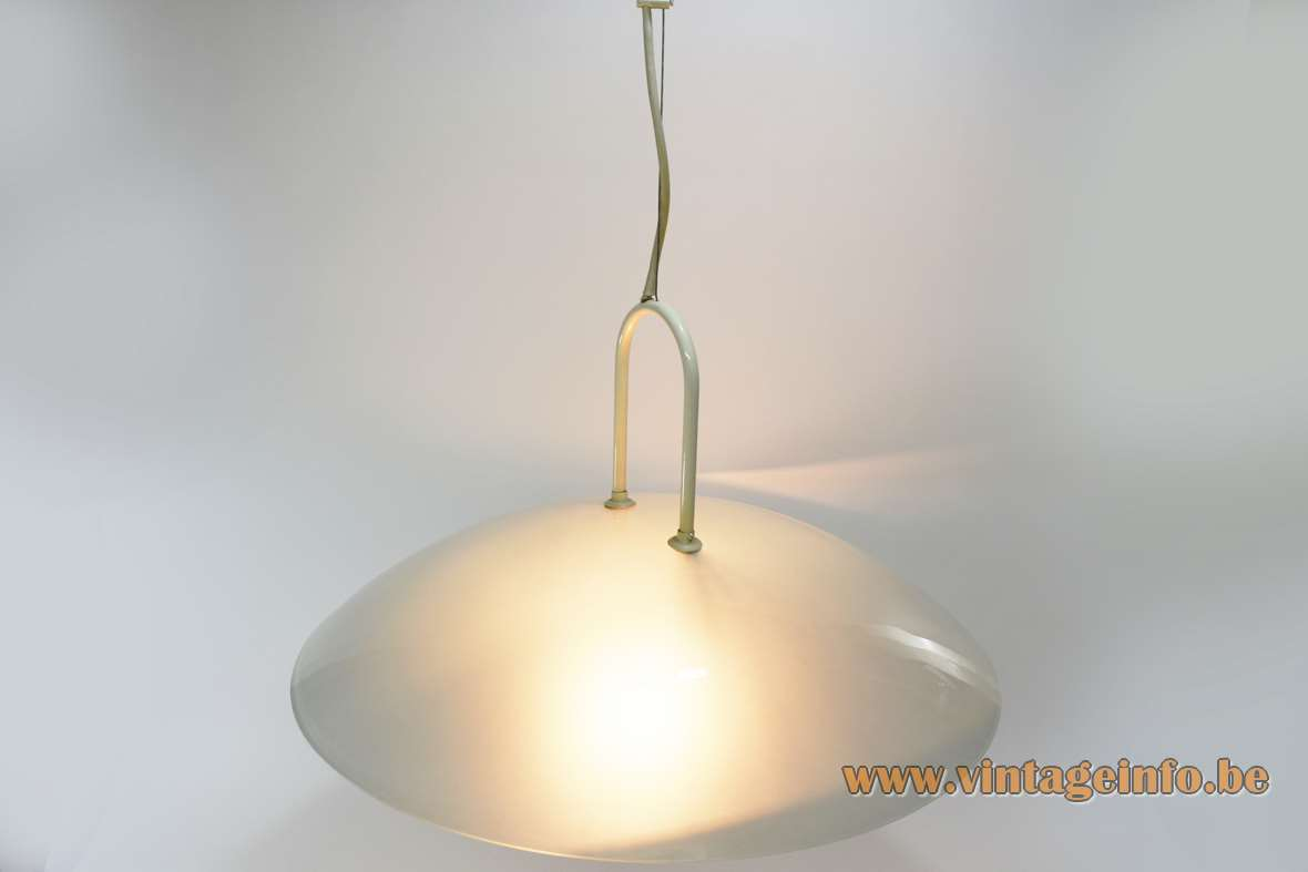 Glass uplighter pendant lamp round frosted glass mushroom lampshade halogen bulb R7S 1970s 1980s vintage top