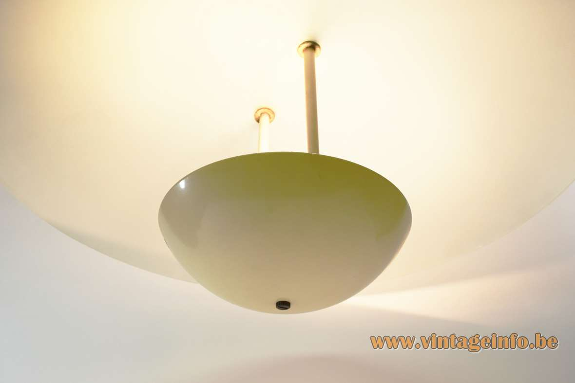 Glass uplighter pendant lamp round frosted glass mushroom lampshade halogen bulb R7S 1970s 1980s vintage bottom
