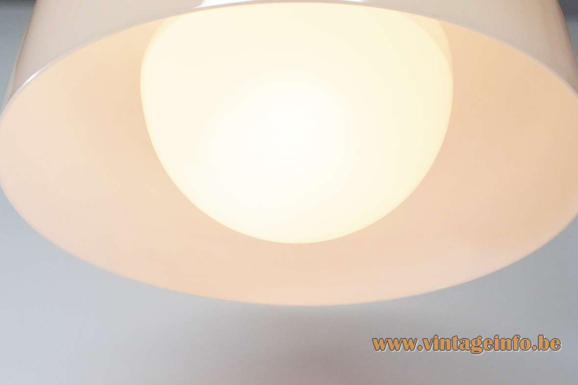 Harvey Guzzini Clear pendant lamp design: Luigi Massoni round white acrylic lampshade chrome ring 1960s 1970s Italy