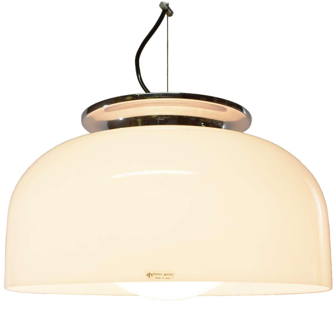 Harvey Guzzini Clear Pendant Lamp Vintage Info All