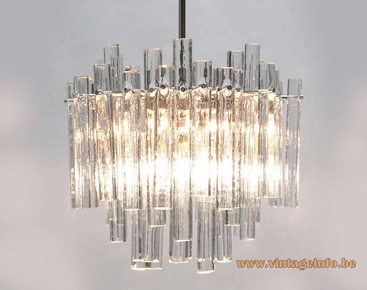 Kinkeldey ice glass chandelier round lampshade chrome frame 46 crystal glass rods 1970s Germany E27 sockets
