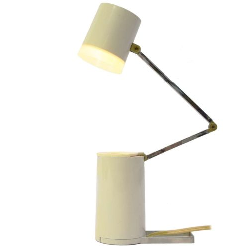 Kreo folding bedside table lamp chrome rods white plastic tube base & lampshade NA-101 Nanbu 1960s 1970s