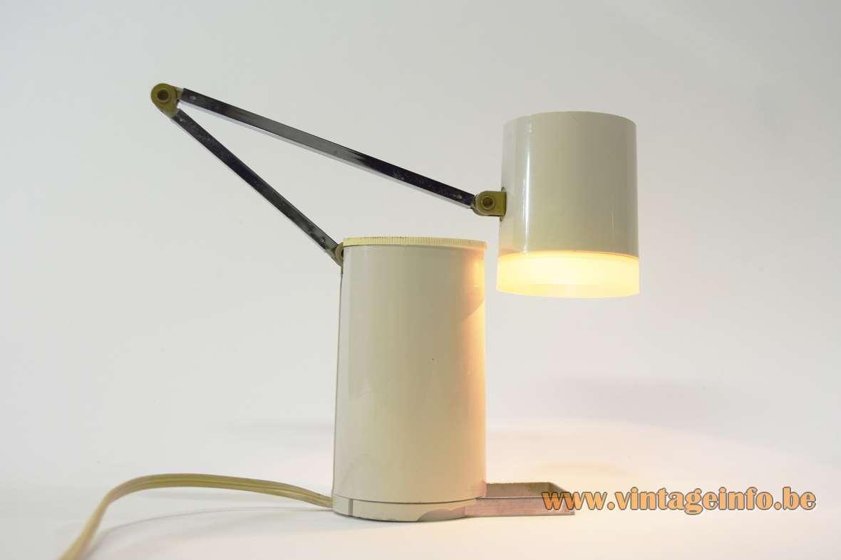 Kreo folding bedside lamp NA-101 Nanbu Lloyd's Paradiso GMBH 12 volt 1960s 1970s MCM plastic metal