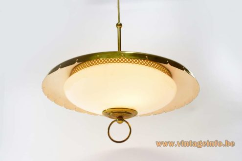 Lehigh brass chandelier or pendant lamp. Opal glass diffuser 2 e27 and 23 E14 bulbs 1960s MCM