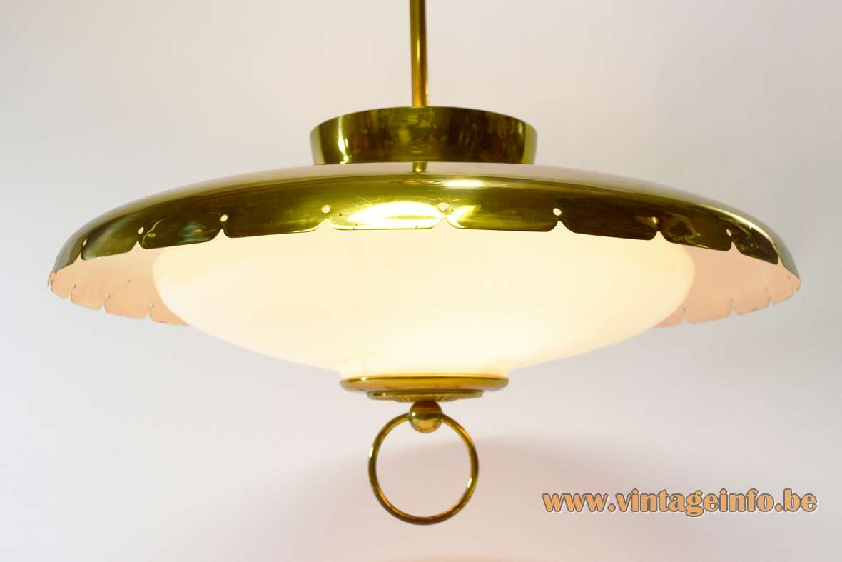 Lehigh 1960s brass chandelier round pendant lamp opal glass diffuser 2 E27 E14 bulbs USA MCM