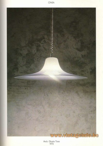 Leucos Cinea Pendant Lamp design: Giusto Toso 1972 white and clear glass witch hat Murano Italy