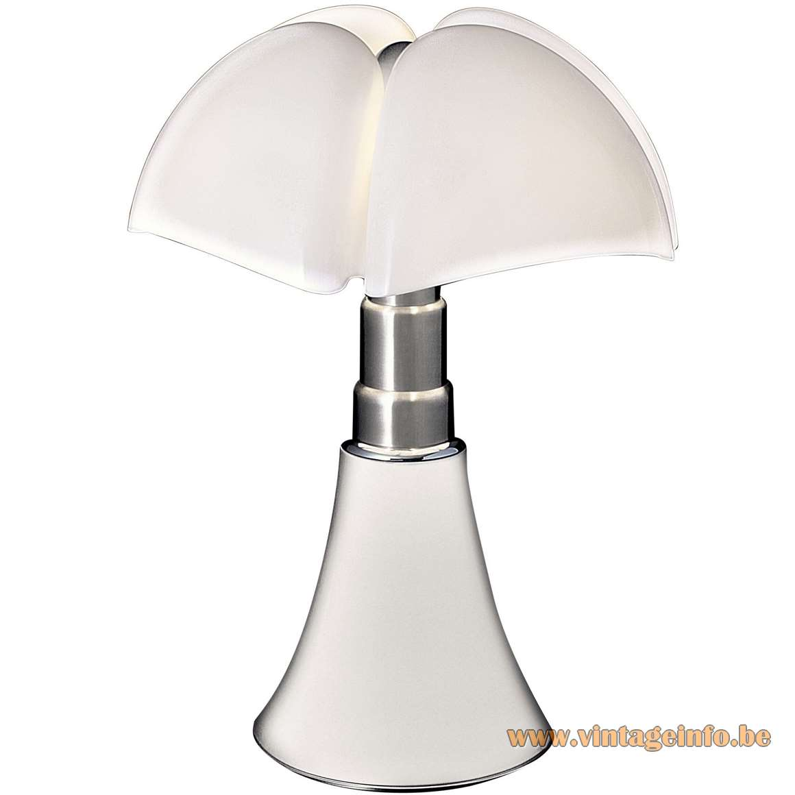 Martinelli Luce Pipistrello table lamp design: Gae Aulenti white acrylic bat lampshade adjustable metal base 1960s