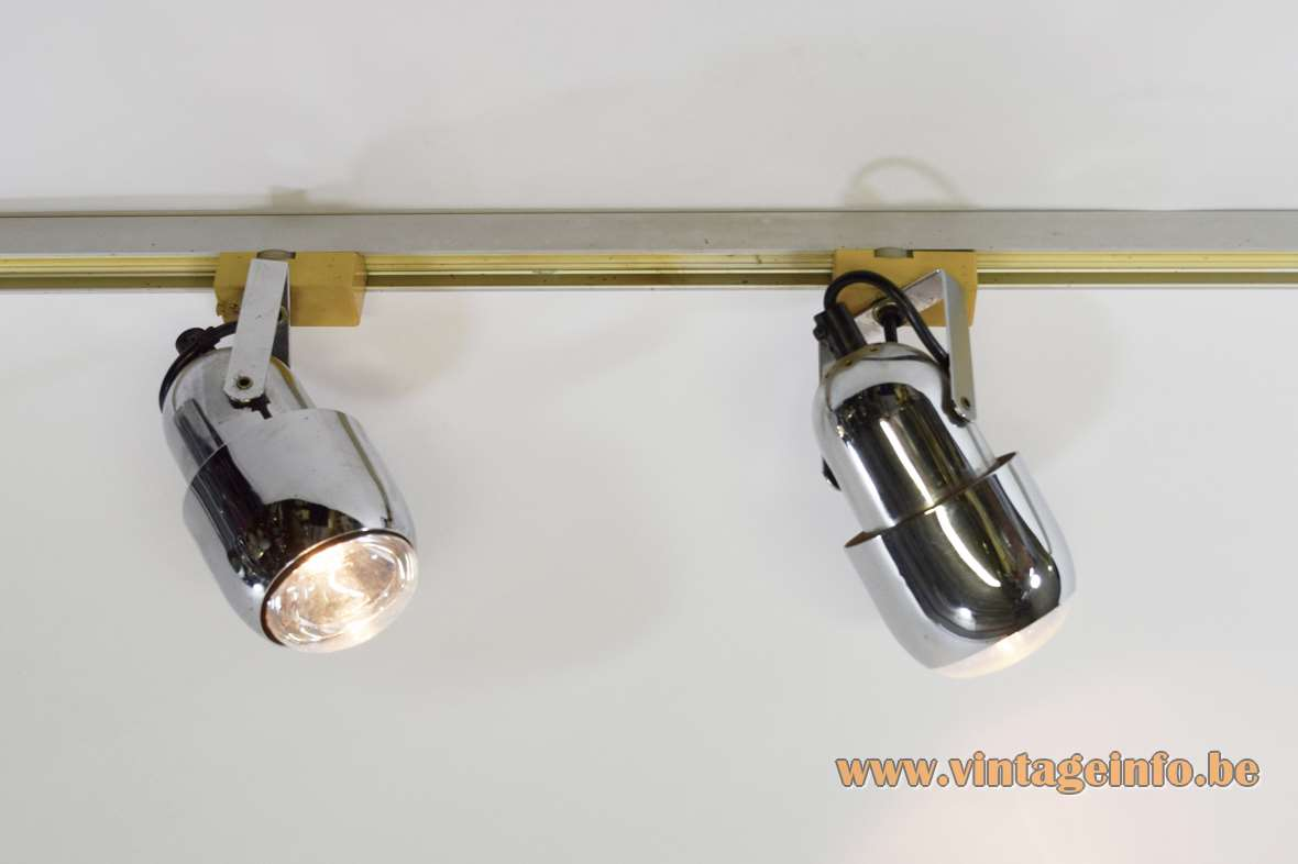 Mid-century chrome spotlights 3 lamps on rail E27 lamp sockets Massive Belgium 1960s 1970s vintage