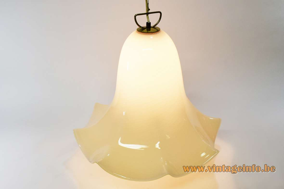 Murano petticoat pendant lamp ochre & white striped flower skirt fazzoletto glass lampshade Kalmar Franken 1960s 1970s