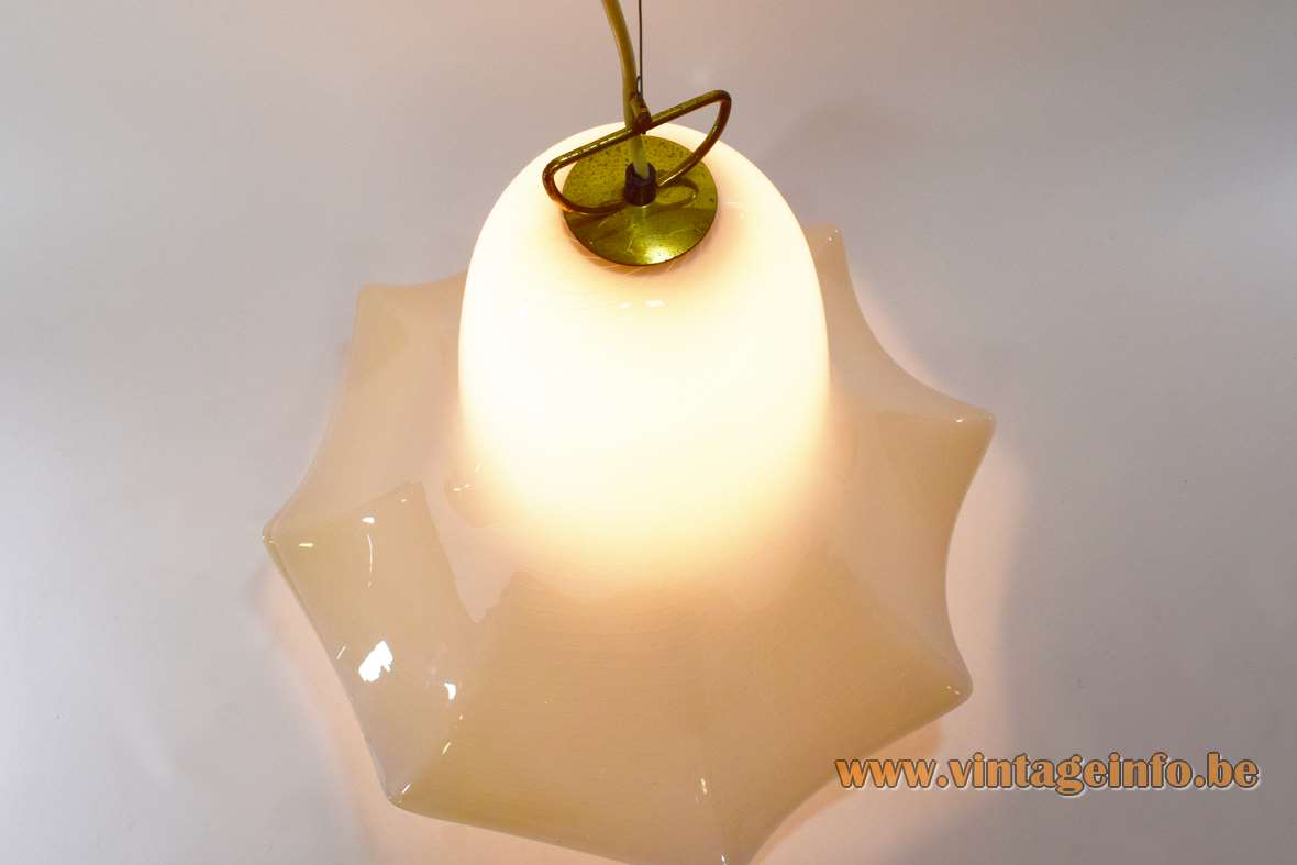 Murano petticoat pendant lamp ochre white striped flower glass skirt fazzoletto by Kalmar Franken 1960s 1970s