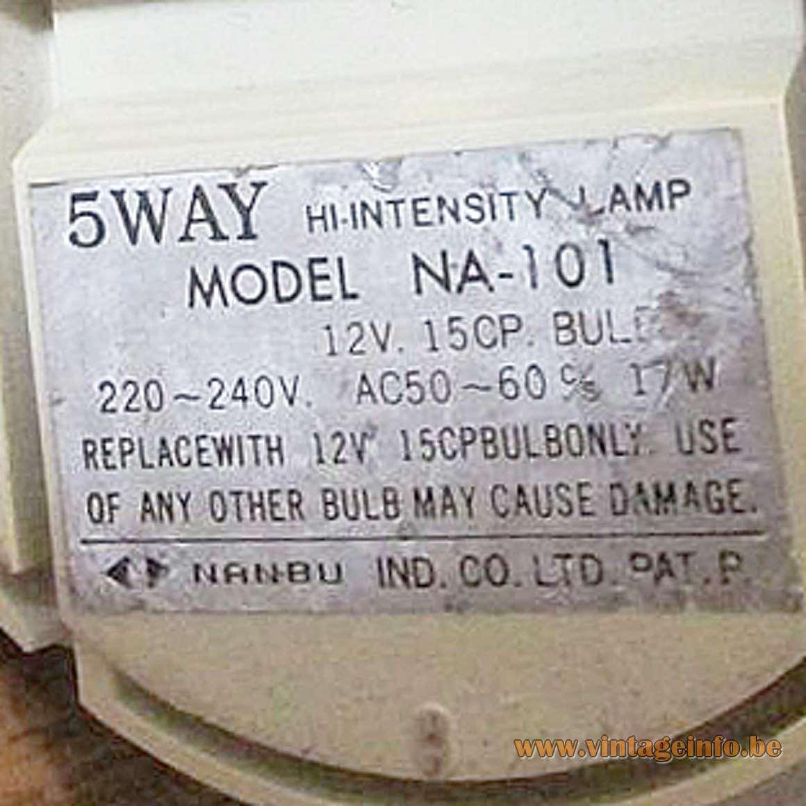 Nanbu Industrial Co. Ltd. - 5WAY Model NA-101 - Label
