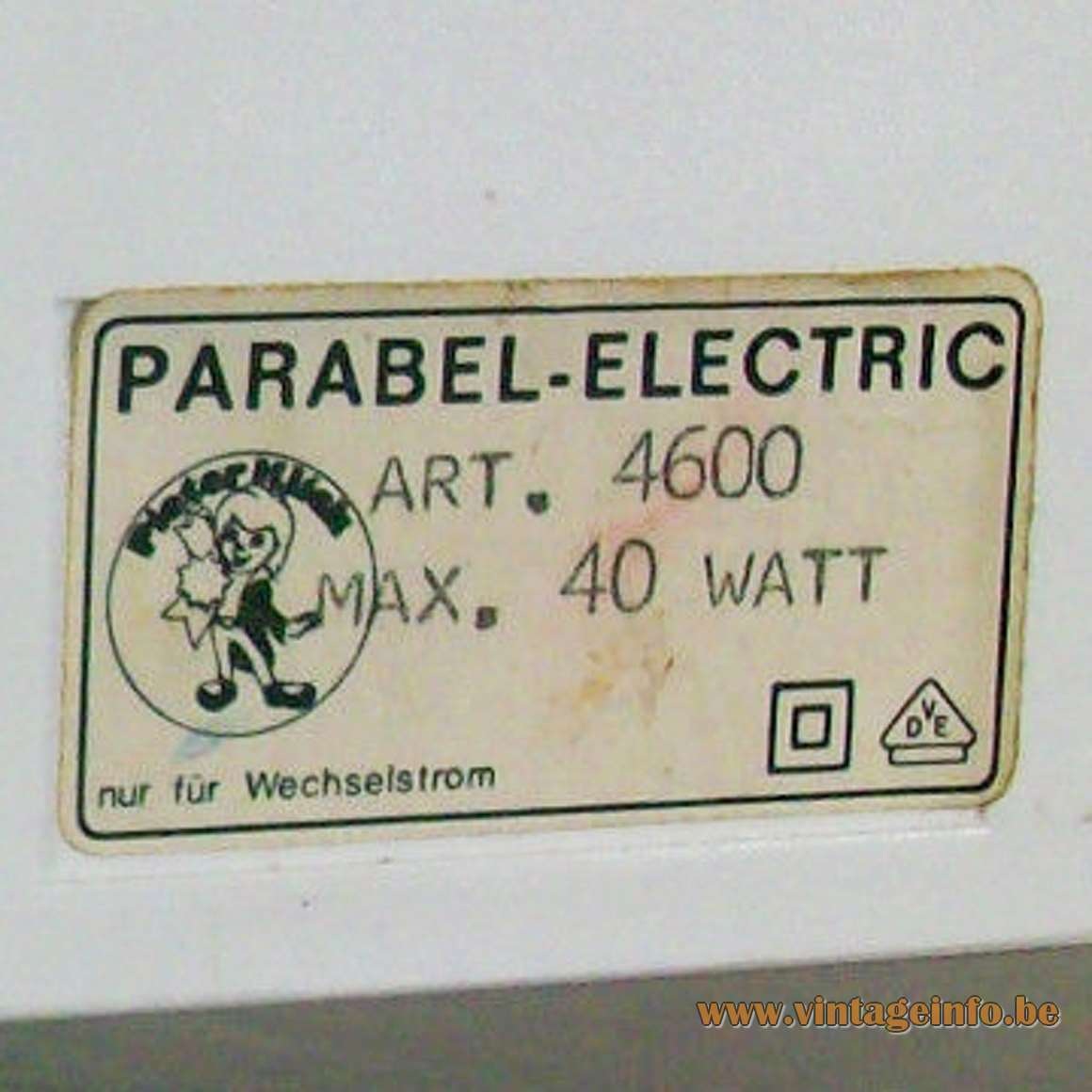 Parabel-Electric Pieter Klick Table Lamp - Label