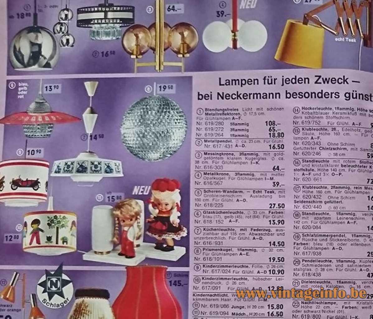 Pieter Klick Table Lamp - Neckermann 1971 catalogue