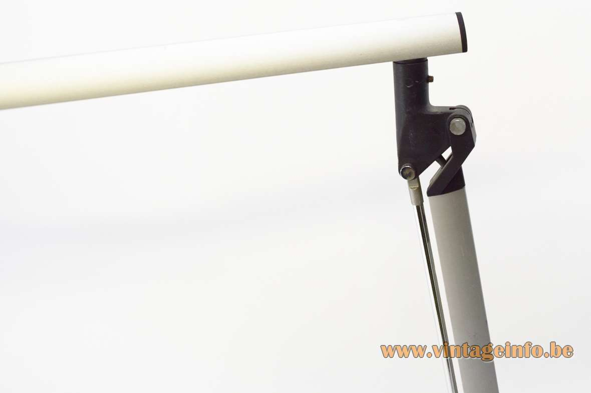 Quattrifolio Boris desk lamp 1992 design black base aluminium rods silver plastic conical lampshade Italy 1990s