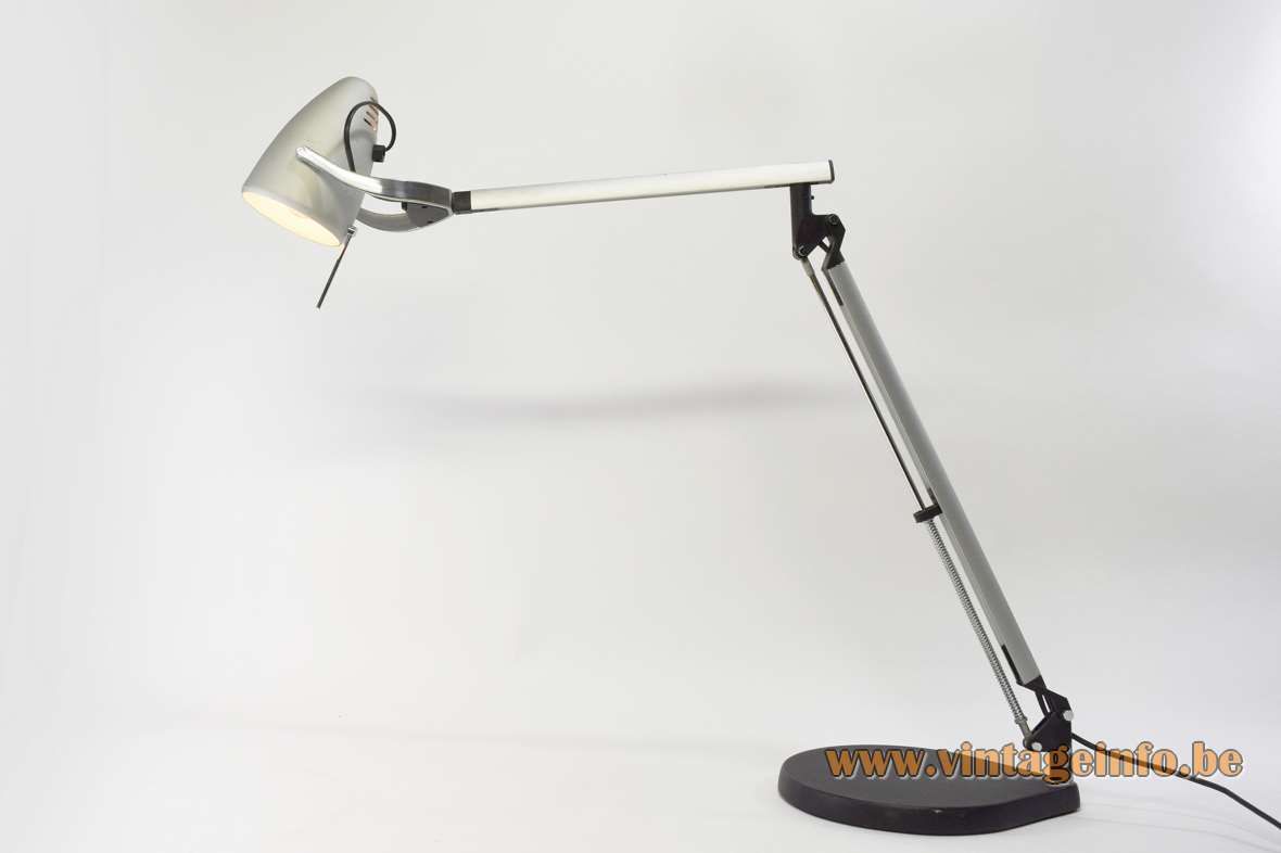 Quattrifolio Boris desk or work lamp 1992 design by Makio Hasuike and Hisham Kulhanek Italy aluminium chrome plastic