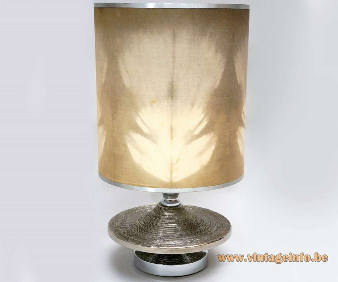 Silver enameled ceramic table lamp 1960s 1970s Italy fabric lampshade round base UFO Saturnus