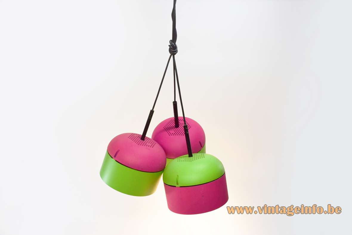 Staff pendant lamps 5518 fluo green & pink round plastic lampshades chrome reflector Staff Leuchten Germany 1970s