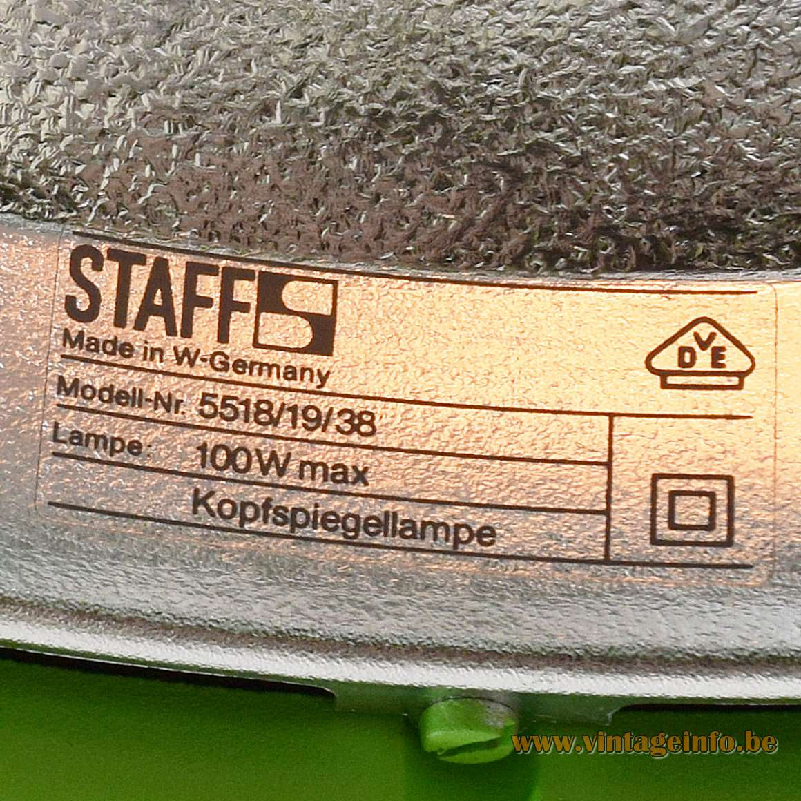 Staff 5518 Pendant Lamps - Modell-Nr. 5518/19/38 100 W max Kopfspiegellampe