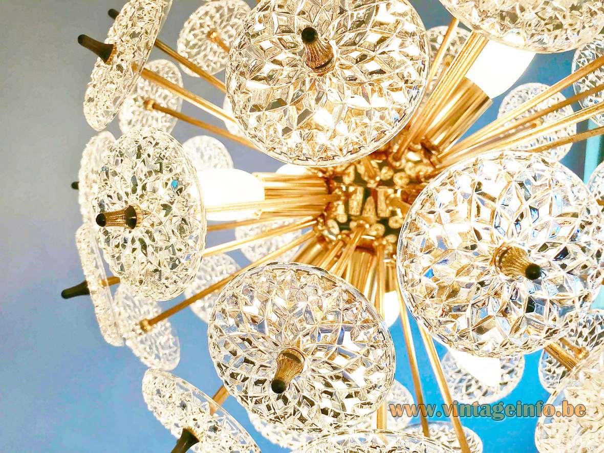 Val Saint LaaVal Saint Lambert Sputnik chandelier glass discs lampshade brass rods Massive Boulanger 12 E14 sockets Belgiummbert Sputnik chandelier glass discs brass rods Massive Boulanger 12 E14 sockets vintage MCM