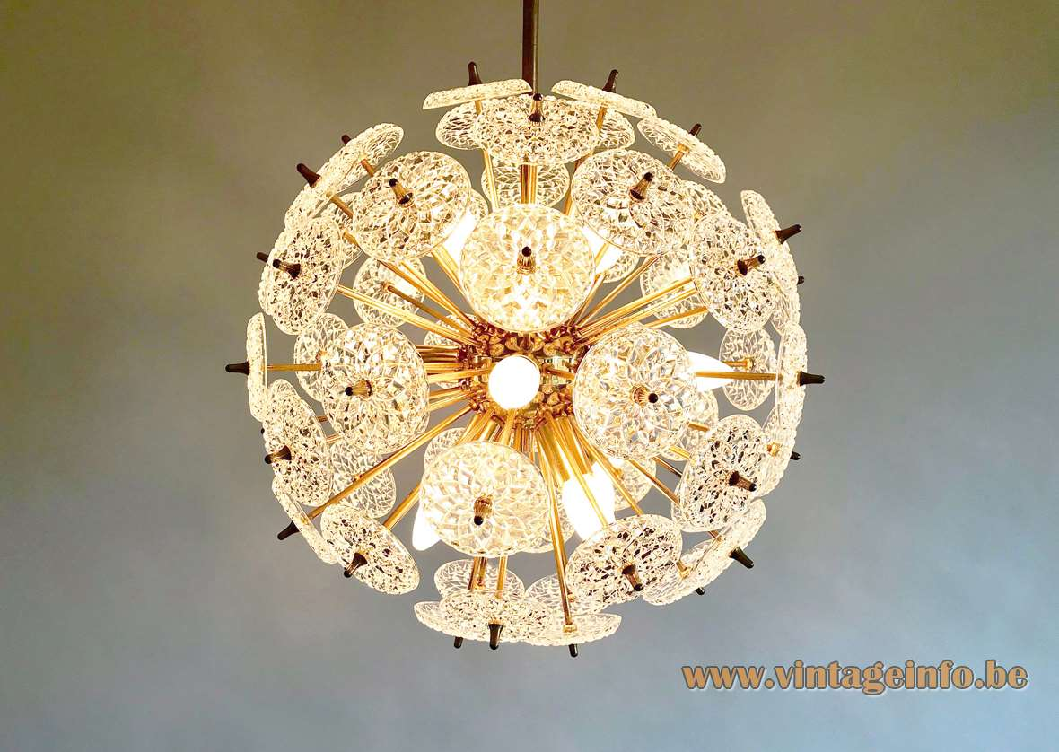 Val Saint Lambert Sputnik chandelier glass discs lampshade brass rods Massive Boulanger 12 E14 sockets Belgium
