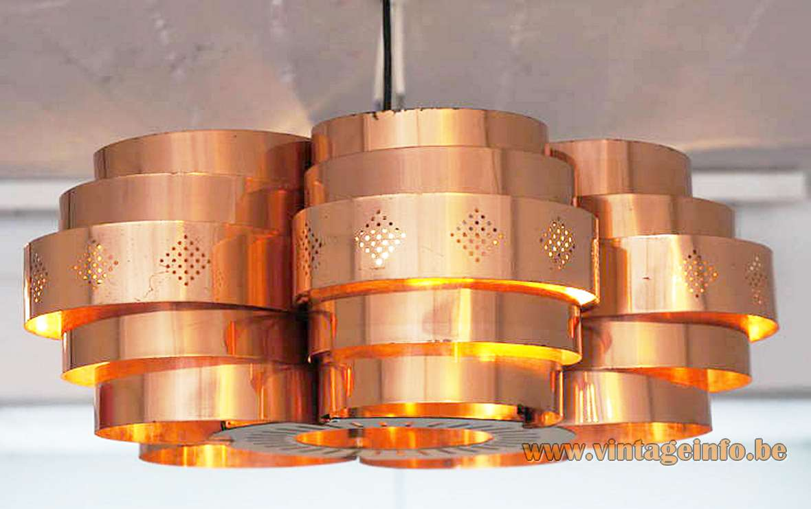 Werner Schou Copper Pendant Lamp Coronell Elektro Denmark round metal slats 1960s 1970s MCM E27 socket