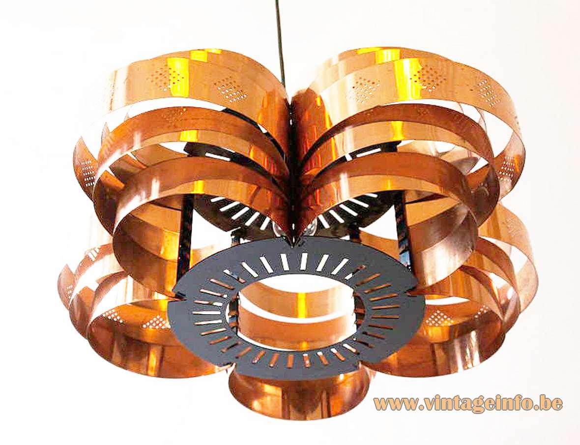 Werner Schou copper pendant lamp round slats rings lampshade Coronell Elektro Denmark E27 socket 1960s 1970s