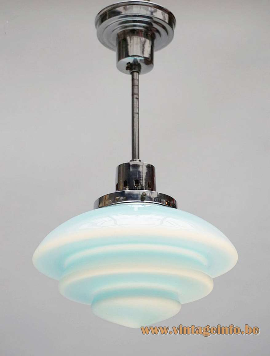 1930s Taito art deco pendant lamp design: Pavoo Tynell Finland blue opal glass chrome rod parts