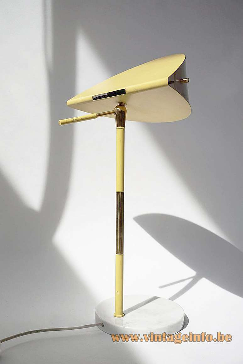 1950s handle table lamp target spot round marble base brass rod Stilux Milan light yellow acrylic 1960s MCM