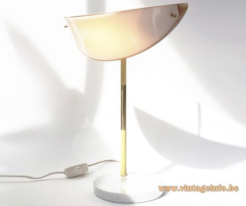 950s handle table lamp target spot round marble base brass rod Stilux Milan light yellow acrylic 1960s MCM