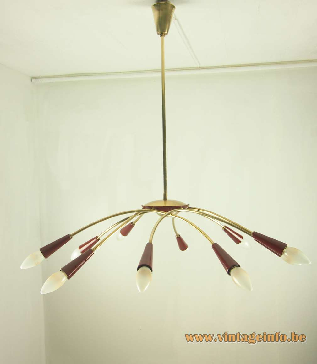 1950s spider chandelier Sputnik lamp brass curved rods 10 light bulbs E14 maroon coloured metal 1960s MCM