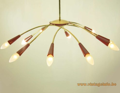 1950s Spider Chandelier - Brass & Maroon