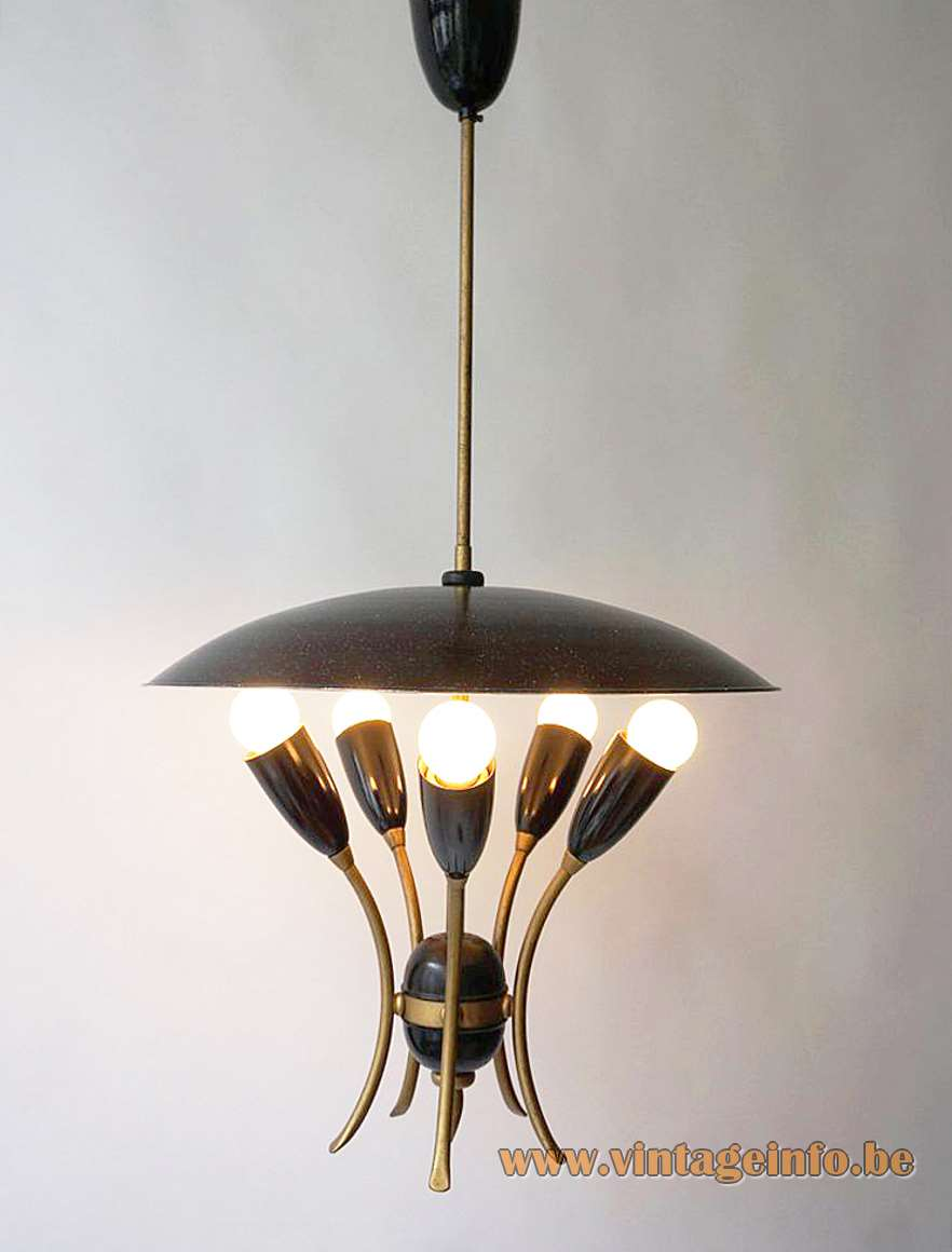 1950s uplighter pendant lamp round UFO mushroom reflector 5 lights bulbs E27 1960s MCM Italy France Germany