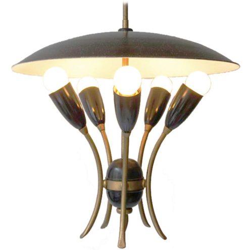 1950s uplighter pendant lamp round UFO mushroom reflector 5 lights bulbs E27 1960s MCM Italy France Germany